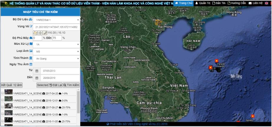 Cơ sở dữ liệu Viễn thám Viện Hàn lâm Khoa học và Công nghệ Việt Nam sẵn sàng cho khai thác phục vụ nghiên cứu